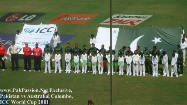 Pakistan team lines up for the National Anthem