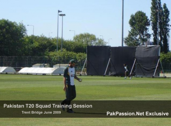 Shahid Afridi at a training session at Trent Bridge