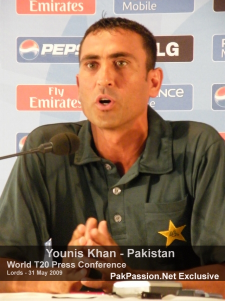 Younis Khan answers a question at the Lords press conference