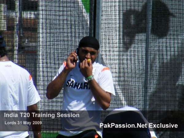 Harbhajan Singh relaxes during a training session