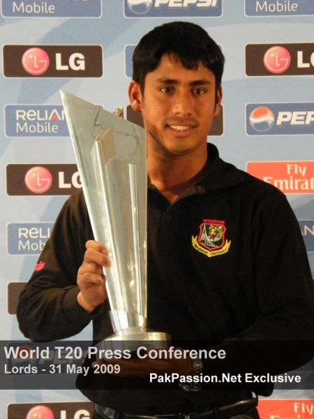 Mohammed Ashraful with the 2009 ICC Twenty20 World Cup Trophy