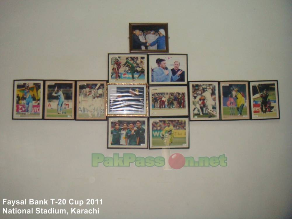 Framed Pictures inside of the National Stadium Karachi