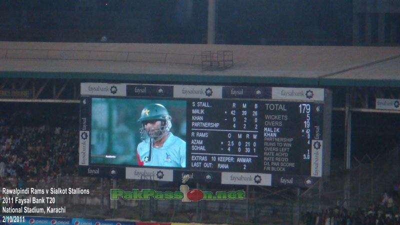 Stallions' scoreboard near the end of their innings