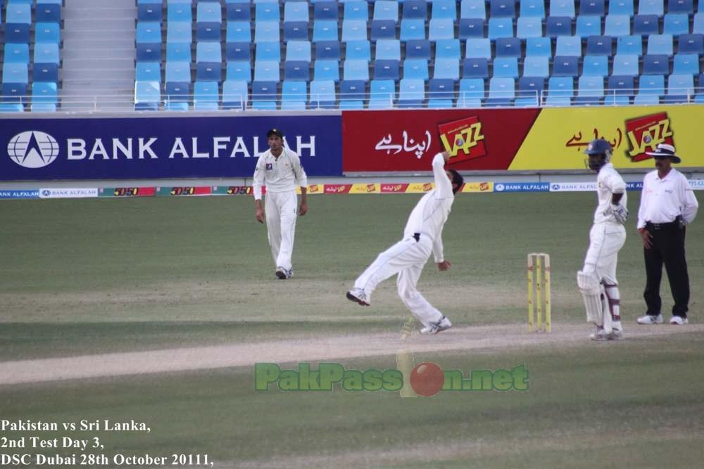 Saeed Ajmal prepares to bowl