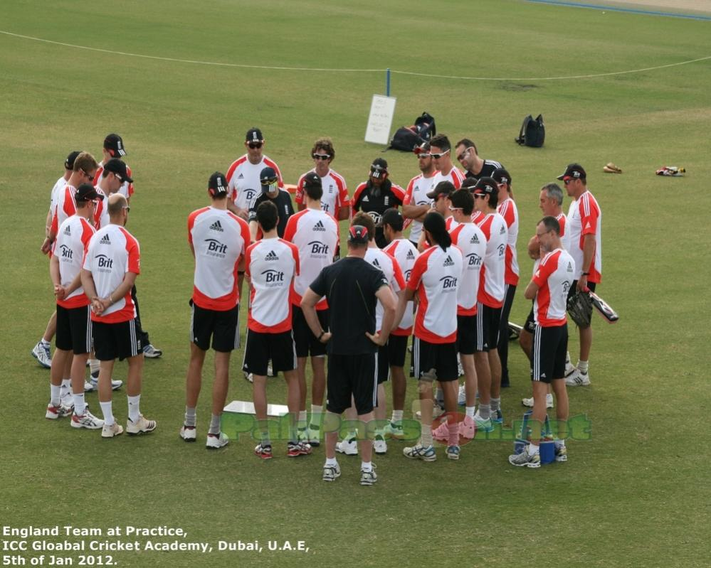 England players in team meeting