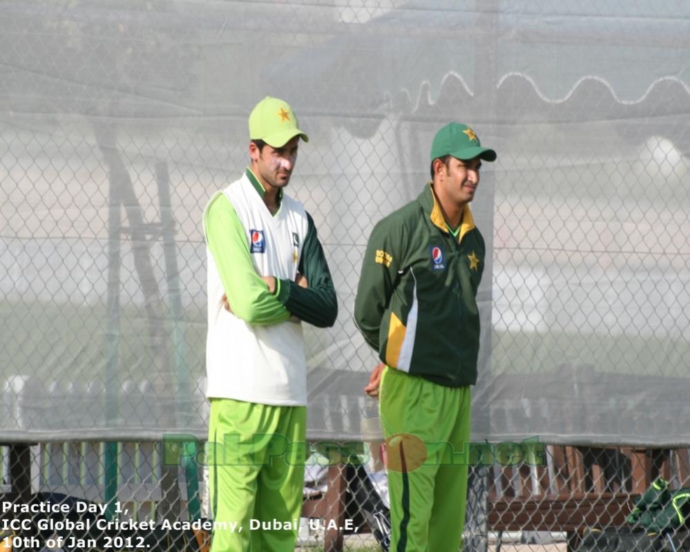 Aizaz Cheema and Junaid Khan during practice
