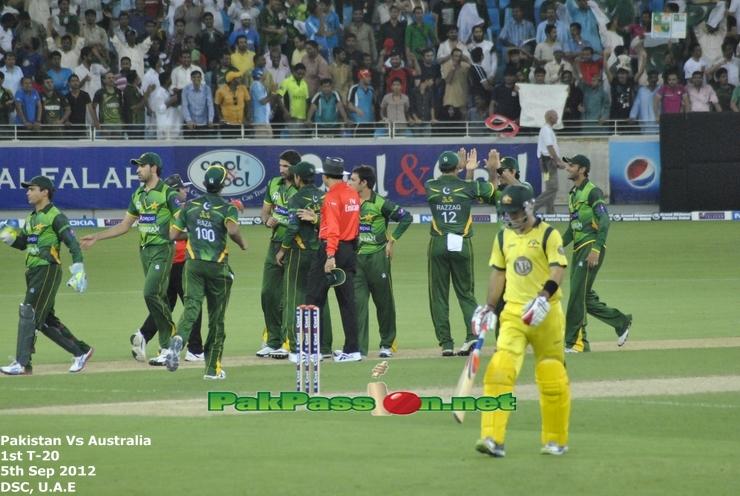 Saeed Ajmal and teammates celebrating