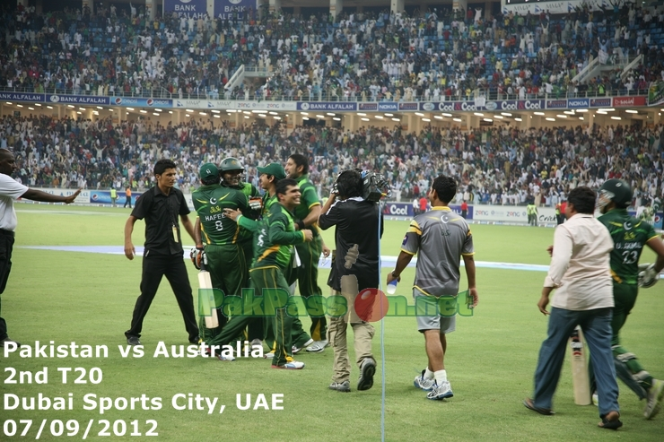 Pakistan team celebrating after the victory