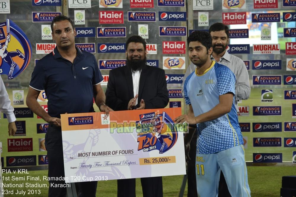 PIA vs KRL - Semi Final - Ramadan T20 Cup 2013